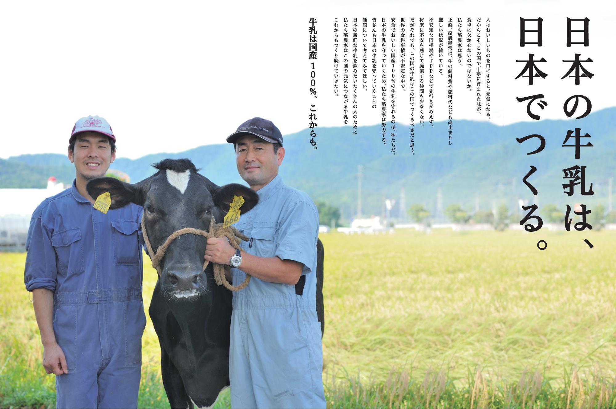 日本の牛乳は、日本で作る。